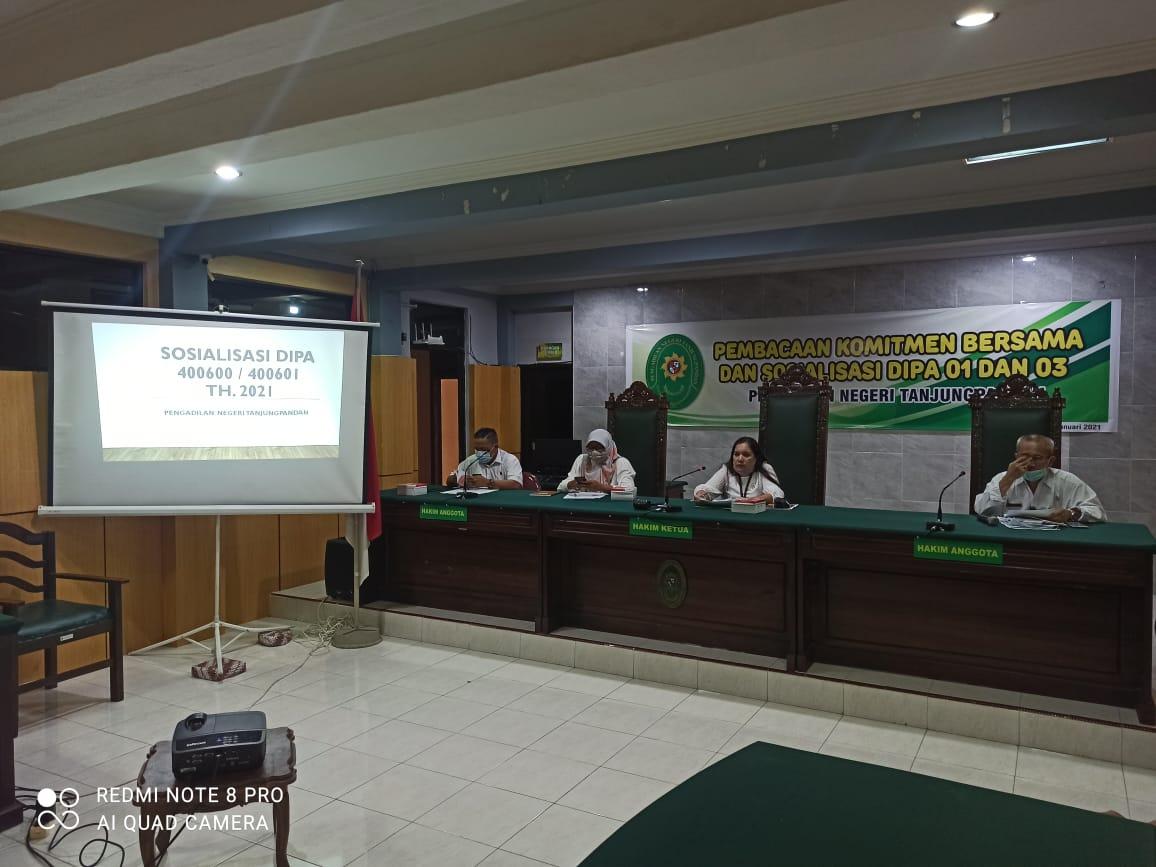 Sosialisasi Pemaparan DIPA 01 dan DIPA 03 Th. 2021 di Pengadilan Negeri Tanjungpandan